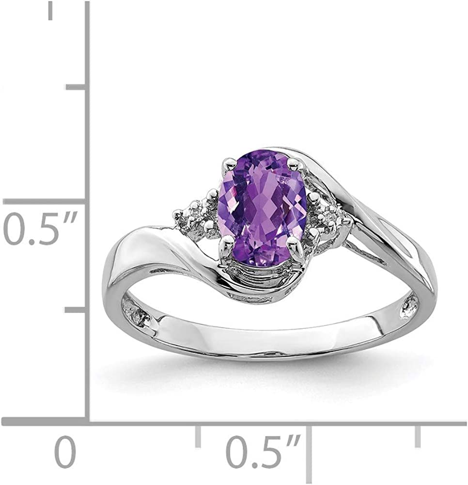 Sonia Jewels Sterling Silver Diamond and Simulated Amethyst Oval Ring 2mm