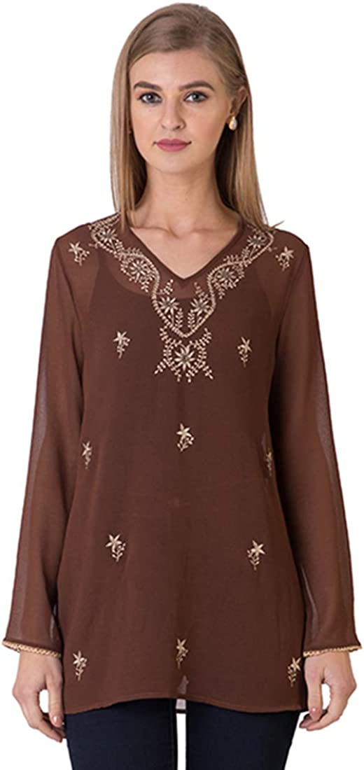 Indigo Paisley Womens Aurora Full Sleeve Tunic with Allover Embroidery