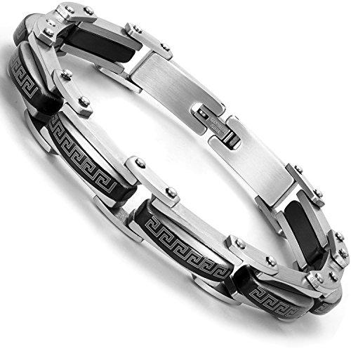 Industrial Greek Pattern 316L Stainless Steel Link Cuff Bracelet for Men (Black, Silver) - Greek Key Mens Bracelet