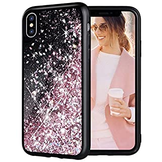 Caka iPhone Xs Glitter Case, iPhone X Case Girly Girls Women Liquid Bling Sparkly Luxury Cuter Flowing Quicksand Floating Glitter TPU Black Phone Case for iPhone 10 X XS (Rose Gold)