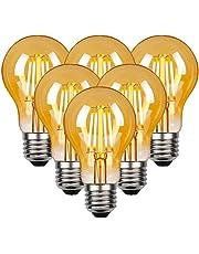 LED Vintage Edison gloeilamp, Edison E27 schroef lamp 4W (40W equivalent), Retro antieke stijl LED-lampen schroef in, 470LM, 2700K warm wit Vintage gloeilamp, 6 Pack
