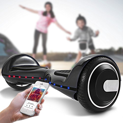 COOCHEER 6.5 Self Balancing Scooter UL2272 Certified Hoverboard Smart Bluetooth Speakers with Lights Self Balancing Electric Hover Board for Boys Girls Black/Blue