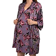 Embrace Your Bump 2 in 1 Super Soft Maternity & Nursing Nightgown & Robe Set (Mauve, Large)