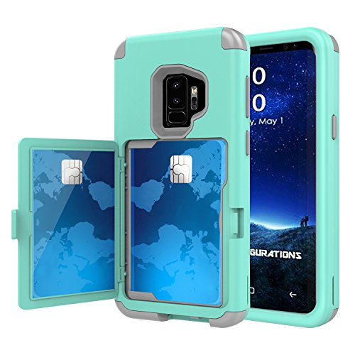 Galaxy S9+ Plus Case, Hidden Door Slim Wallet Case, Fits 2 Cards and Cash, Reinforced Drop Bumper Protection, Open Mirror, Front Frame Screen Protection For Samsung Galaxy S9+ Plus (2018) - Blue