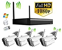 4 Camera - Wireless Home Video Surveillance Kit - 180ft Night Vision