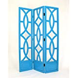 Wayborn Home Furnishing Charleston 3 Panel Room Divider, 76'', White/Distressed Teal