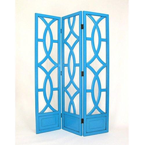 Wayborn Home Furnishing Charleston 3 Panel Room Divider, 76'', White/Distressed Teal