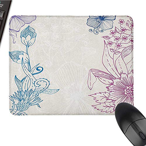 Mouse pad for Gaming Floral,Flower Field Beauty Blooms in Spring Petals Artsy Graphic, Teal Lilac Dried Rose Cute Mouse pad 9.8 x11.8 INCH ()