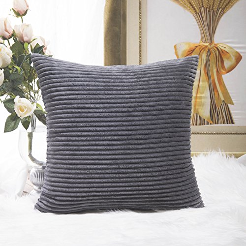 HOME BRILLIANT Striped Corduroy Plush Velvet Large Euro Sham Fall Decoration Cushion Cover for Couch, 24 x 24 inch (60cm), Dark Grey (Euro Sham Measurements)