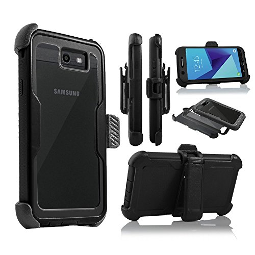 For Samsung Galaxy J7/Sky Pro/J7 Prime/J7V/J727/Perx/Halo Full Body Rugged Holster Explorer Armor Case with Built in Screen Protector (Black) by customerfirst (Image #1)