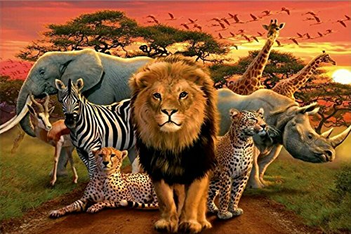 (ZHENC 5D DIY Square Diamond Painting Drawing Crafts Lion Leopard Elephant Rhino Antelope Zebra Giraffe Animal Embroidery Needlework Full Drill Decor Cross Stitch Kits )