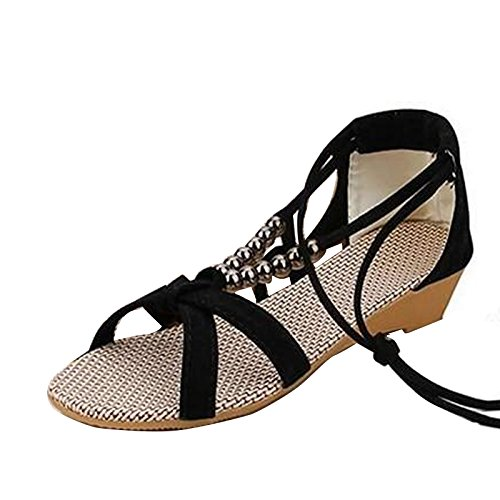 Women Comfy Wedge Sandals Bohemian Beaded Lace-Up Beach Holiday Shoes Open Toe Strappy Flat Sandals Black VDe8UgGOz