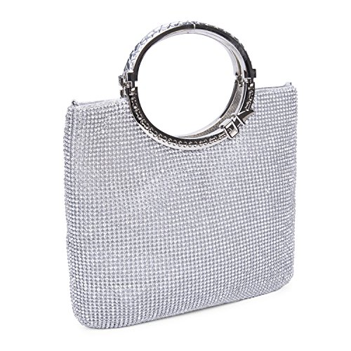 CLOCOLOR Womens Crystal Rhinestone Evening Bags Wedding Clutch Purse with Bow Frame Silver not too big nor too small,can fit my make up kit Beaded Metallic Evening Bag