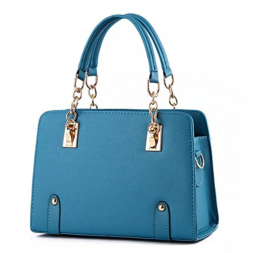 New qckj Fashion Cruz Cuerpo Bolsa De Hombro Mujeres PU Bolso Azul
