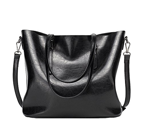 Anne - Bolso de tela de poliuretano para mujer negro granate negro