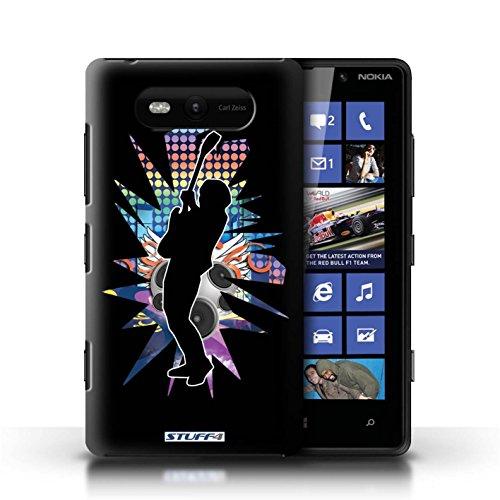 Etui / Coque pour Nokia Lumia 820 / Hendrix Noir conception / Collection de Rock Star Pose
