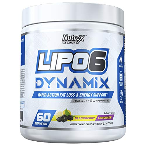 Nutrex Research Lipo 6 Dynamix | Rapid Action Fat Loss & Energy Support, Dynamine, Choline, Huperzine, Theanine, Caffeine Citrate | BlackBerry Lemonade | 60 Servings