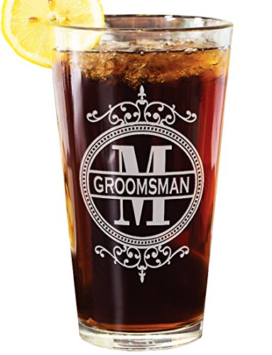 Fancy Framed Monogram Single Pub Pint Glass Personalized Wedding Gift Engraved Wedding Favor Groomsmen Best Man Beer Glasses Monogrammed Beer Mug for Groom Father in Law Father of the Bride