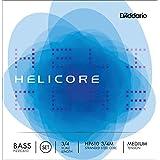 D'Addario Helicore Pizzicato Bass String Set, 3/4 Scale, Medium Tension