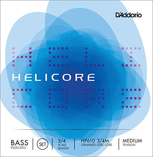 (D'Addario Helicore Pizzicato Bass String Set, 3/4 Scale, Medium Tension)