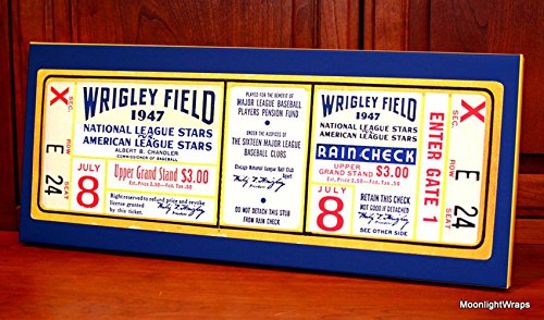 Baseball Wall Ticket Art (1947 Vintage Chicago Cubs - Wrigley Field All-Star Game Ticket - Canvas Gallery Wrap - 24 x 10)