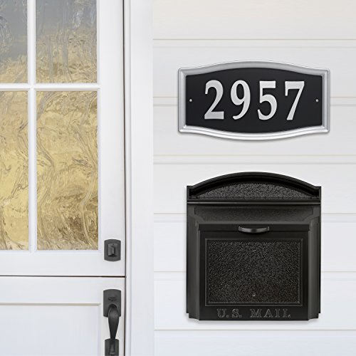 Whitehall Wall Mounted Locking Mailbox Color French +Address Sign Plaque (Black+Silverplaque)