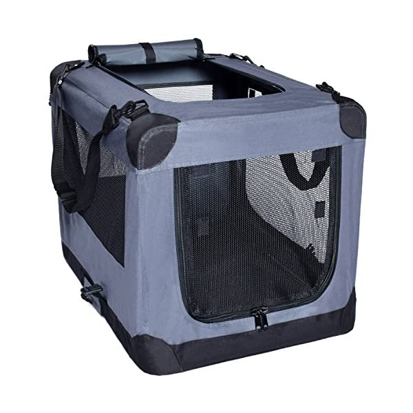 Dog Soft Crate 27 Inch Kennel for Pet Indoor Home & Outdoor Use – Soft Sided 3 Door Folding Travel Carrier with Straps – Arf Pets