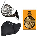 Band Directors Choice Silver Plated Double French Horn Key of F/Bb - Solos for the Horn Player Pack; Includes Intermediate French Horn, Case, Accessories & Solos for the Horn Player Book