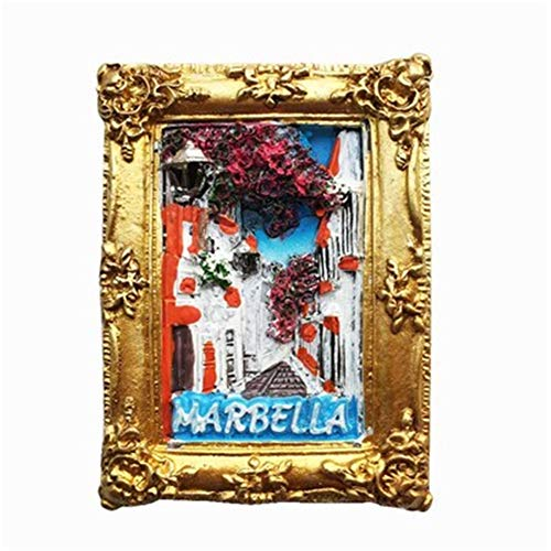 Refrigerator Magnets Resin 3D Funny Flower Lane Marbella Spain City Travel Souvenirs Fridge Stickers Magnetic Fridge Magnet for Whiteboard Home Kitchen Decoration Accessories Arts Crafts Gifts