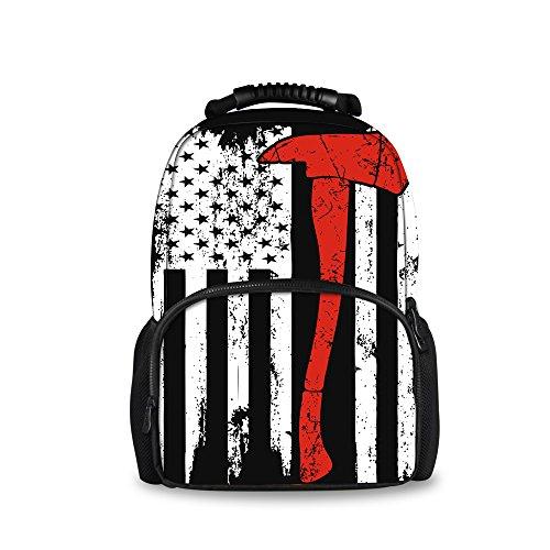 Nakgn American Flag Firefighter Pattern Backpacks for Children School Book Bags -