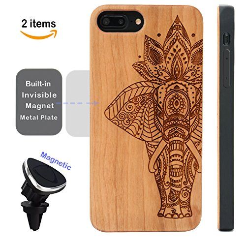 Engraved Elephant (iPhone 7 6 8 Plus Case Elephant, iProductsUS iPhone6/6S8 Plus Wood Case, Engraved Unique Elephant, Built-in Metal Plate, Covered TPU Rubber iPhone Shockproof Case (5.5