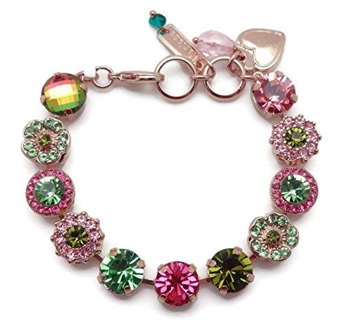 - Mariana Tutti Frutti Swarovski Crystal Rose Goldtone Bracelet Pink & Green Mosaic 142