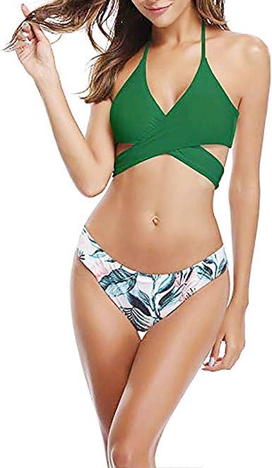 Plisado Estampado Rayas Ropa de Playa Tallas Grande Bañador en V Traje de Baño de Una Pieza para Mujer Bikini Mujer De Baño Bikini Bañador Mujer de Tres Puntos Ropa de Baño