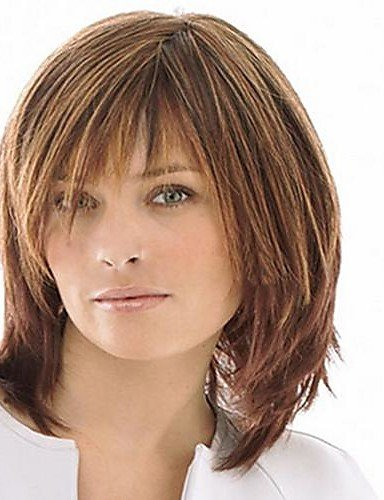 Beauty Fashion Wigs Capless Mix Color Medium Length Natural Straight Hair Synthetic Wig with Full Bang