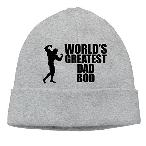 Uanjuzn World's Greatest Dad Bod Men/Women Cool Fashion Hedging Hat Wool Beanies Cap Ash