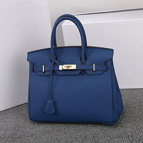 Véritable Lock AASSDDFF Faux Sacs Sacs Bag Top Crossbody Sacs Femmes Pour à Femelle de Designer Hand Dames main Femmes luxe électro blue30x17x23cm Tote Box dqqr4AwE