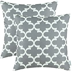 Pack of 2 CaliTime Throw Pillow Covers 18 X 18 Inches, Quatrefoil Accent Geometric, Grey