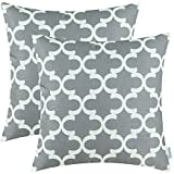 pack of 2 calitime throw pillow covers 18 x 18 inches quatrefoil accent geometric grey