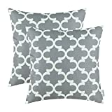 CaliTime Pack of 2 Throw Pillow Covers Cases for Couch Sofa Home Decor, Modern Quatrefoil Accent Geometric, 20 X 20 Inches, Grey