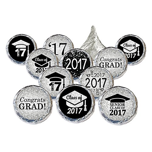 Class of 2017 Graduation Party Favor Stickers, Set of 324 (Black and (Graduation Envelope Seals)