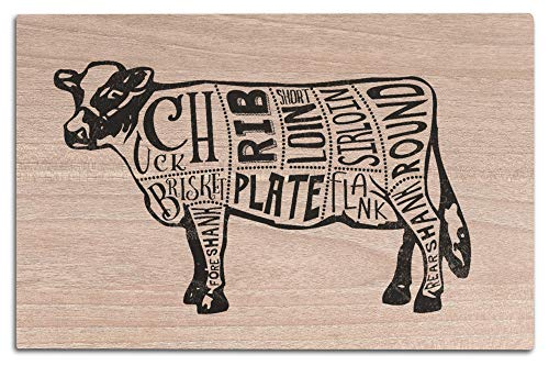 Lantern Press Beef - Butchers Block Meat Cuts - Black Cow on White (12x18 Wood Wall Sign, Wall Decor Ready to Hang)