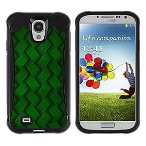 All-Round híbrido Heavy Duty de goma duro caso cubierta protectora Accesorio Generación-II BY RAYDREAMMM - Samsung Galaxy S4 I9500 - Green Embroidery Pattern Wallpaper Random