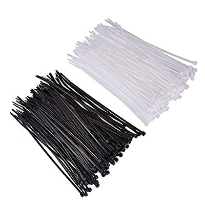 Dxg Zip Ties, 200 Pcs 4 Inch Self-locking Nylon Cable Ties, Black and White