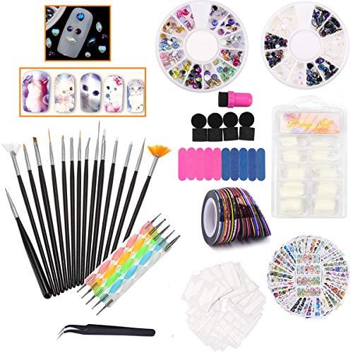 Nail Art Kit - 15x Nail Brushes, 5x Dotting Pen, Nail Liner, French false nails, Stripping Tapes, Gradient Sponge, Colorful Nail Decals, 3D Nail Rhinestones, Nail Files and a Tweezers (Black) (Black Nail Tape)