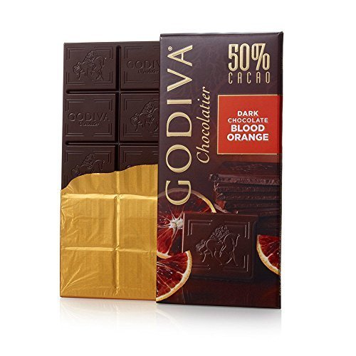 Godiva Chocolatier Dark Chocolate Bar, Blood Orange, Large by GODIVA Chocolatier