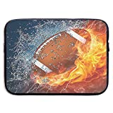 Football On Fire 13-15 Inch Laptop Sleeve Bag Portable Dual Zipper Case Cover Pouch Holder Pocket Tablet Bag,Water Resistant,Black