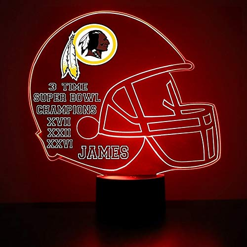 Mirror Magic Store Washington Redskins Football Helmet LED Night Light with Free Personalization - Night Lamp - Table Lamp - Featuring Licensed ()