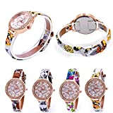 Womens Quartz Watches,COOKI Loving Heart Pattern Unique Analog Fashion Clearance Lady Watches Female watches on Sale Casual Wrist Watches for Women,Comfortable PU Leather Love Gift Watch-H37