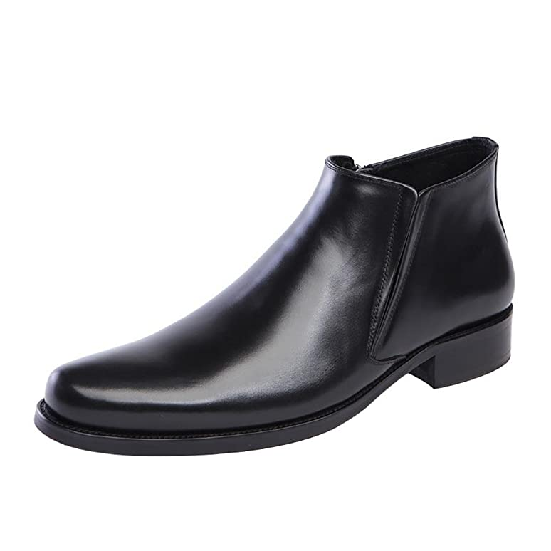 Men 's Leather Pointed Zipper High Top Elastic Manual Dress Ankle Boots