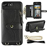 LAMEEKU Wallet Case Compatible with iPhone 8 Plus, iPhone 7 Plus Case Wallet Card Holder Leather Case with Wrist Chain Crossbody Strap Zipper Case for iPhone 7 Plus/8 Plus (5.5 inches Black)
